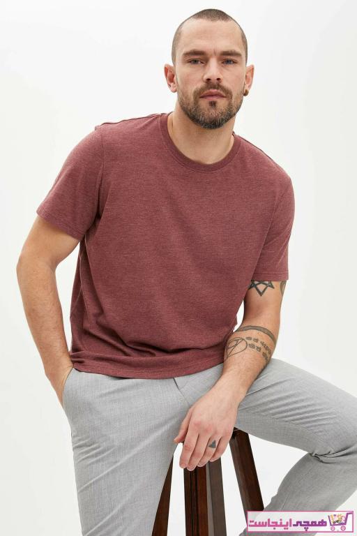 خرید تی شرت 2020 مردانه برند دفاکتو ترکیه رنگ زرشکی ty36432013