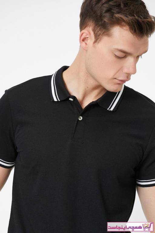 پولوشرت مردانه طرح دار برند کوتون رنگ مشکی کد ty37620612