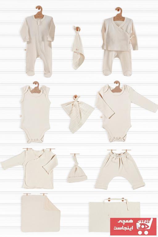 ست لباس نوزاد نخ پنبه برند tinylamb رنگ طلایی ty40263264