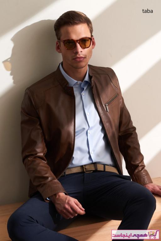 قیمت ژاکت چرم مردانه برند پیرکاردین رنگ قهوه ای کد ty41864709