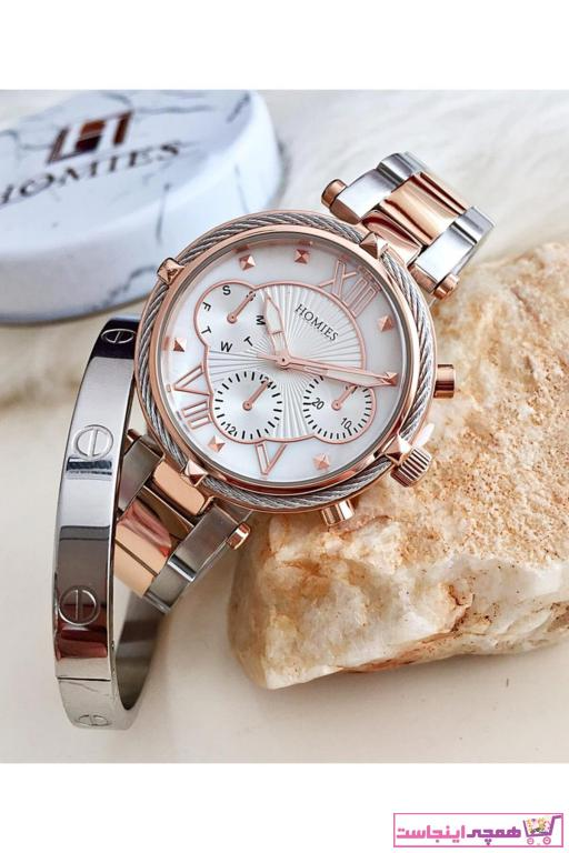 خرید انلاین ساعت مچی زنانه لوکس 2021 برند Homies رنگ متالیک کد ty42621357
