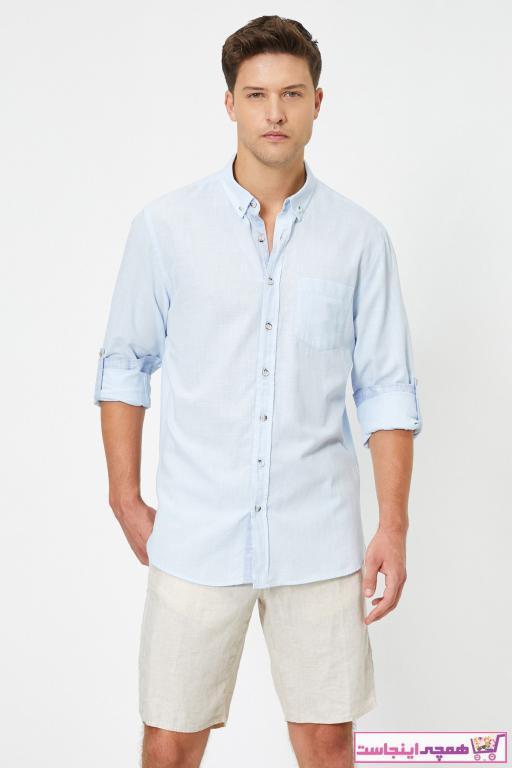 پیراهن کلاسیک زیبا مردانه برند کوتون رنگ آبی کد ty42718333