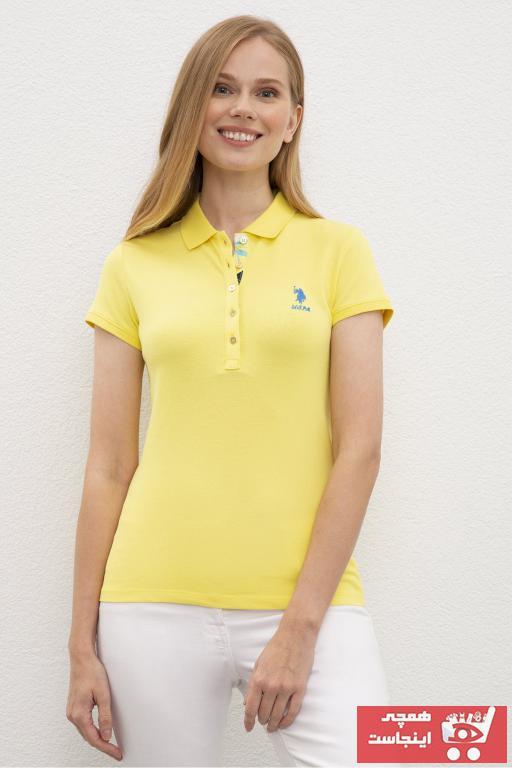 سفارش پولوشرت زنانه ارزان برند U.S. Polo Assn. رنگ زرد ty46958090