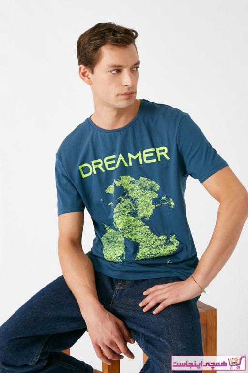خرید پستی تیشرت مردانه پارچه نخی برند کوتون رنگ لاجوردی کد ty49950064