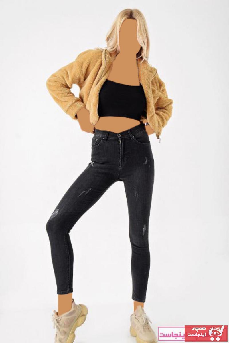 شلوار جین زنانه مارک دار برند Modakapimda رنگ مشکی کد ty51765383