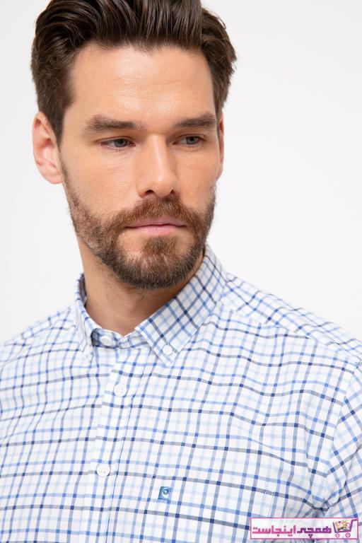 خرید انلاین پیراهن اسپرت طرح دار مارک پیرکاردین رنگ آبی کد ty6753474