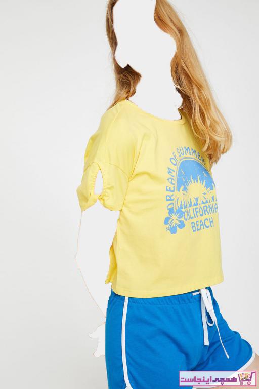 تیشرت زنانه مدل برند کوتون رنگ زرد ty6766746