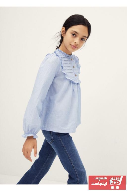 خرید ارزان شومیز نوزاد دختر فانتزی برند مانگو رنگ آبی کد ty68311274
