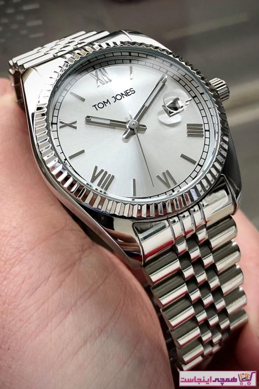 خرید پستی ساعت شیک مردانهاصل برند Tom Jones رنگ نقره کد ty70292012