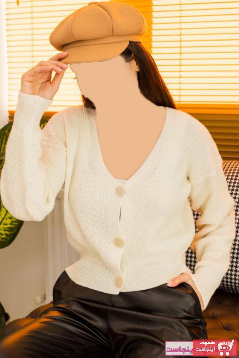 خرید اسان ژاکت بافتی زنانه زیبا مارک armonika رنگ بژ کد ty72608895