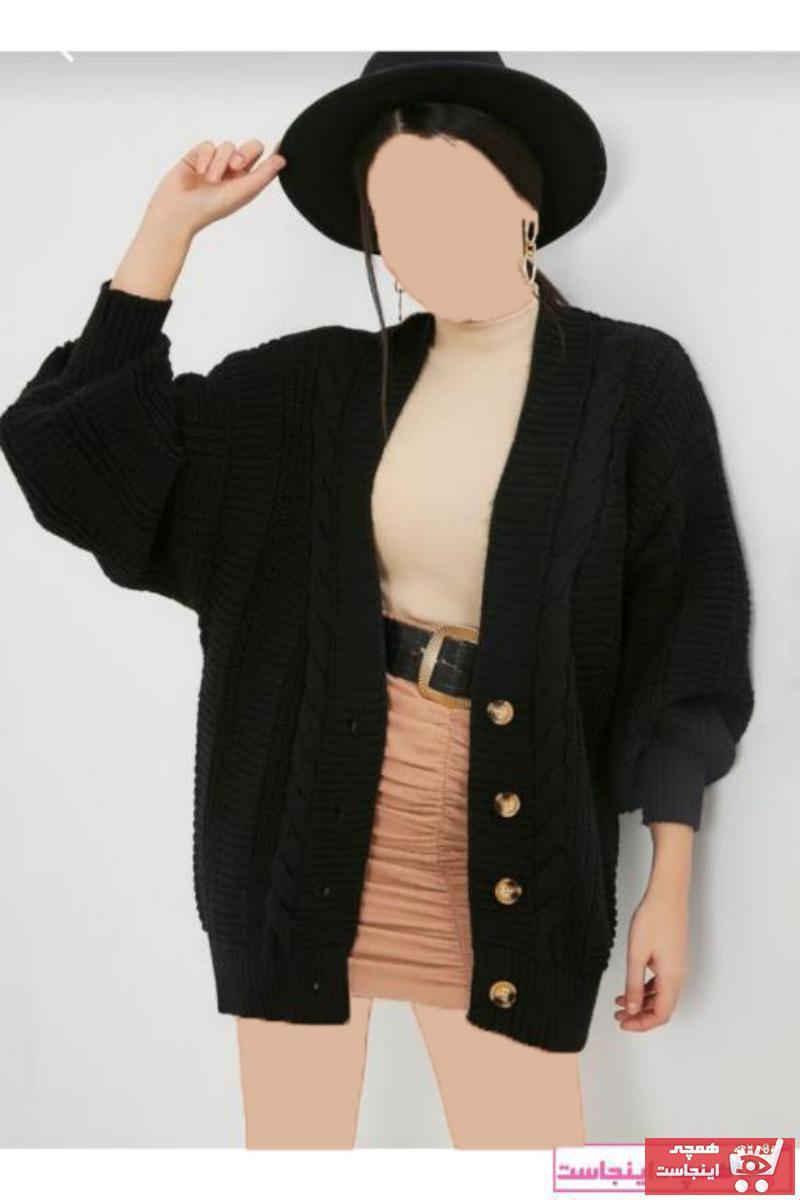 ژاکت بافتی زنانه نخی  رنگ مشکی کد ty73942302