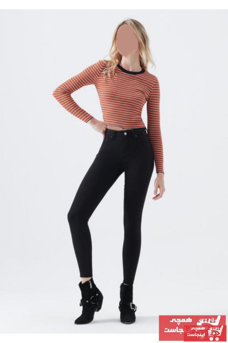 شلوار جین زنانه مارک دار برند Terrenova رنگ مشکی کد ty74956088