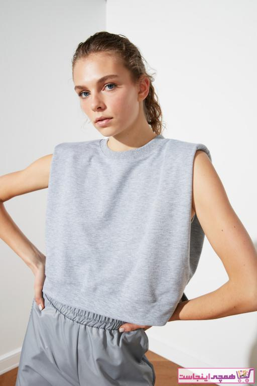 فروش اینترنتی تیشرت زنانه با قیمت برند ترندیول میلا ترک رنگ نقره ای کد ty78138499