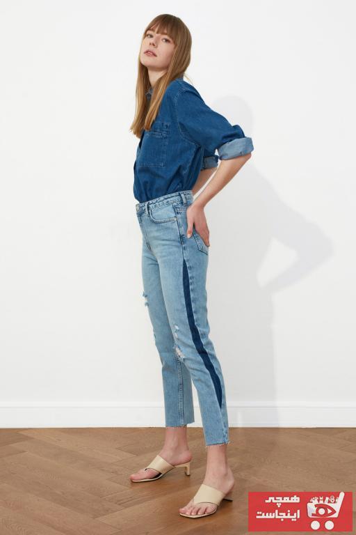 شلوار جین زنانه کوتاه مارک ترندیول میلا رنگ آبی کد ty79184004
