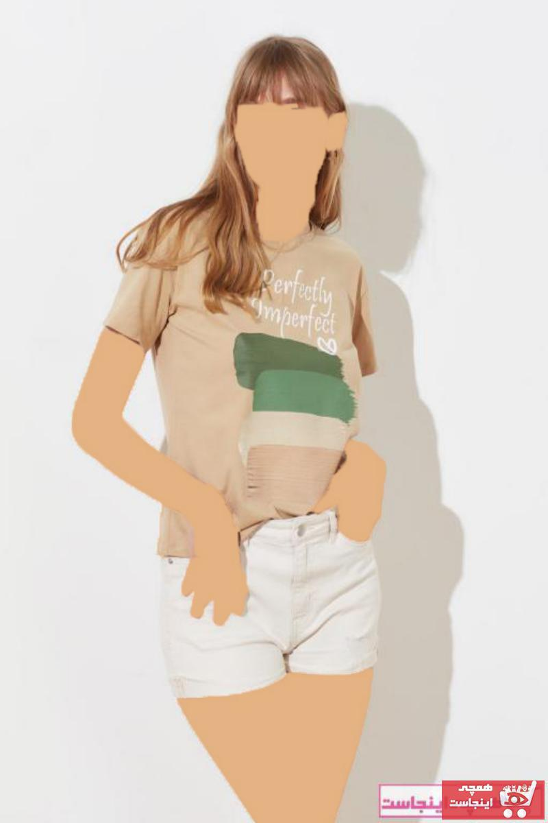 فروش تی شرت جدید برند ترندیول میلا رنگ قهوه ای کد ty79573143