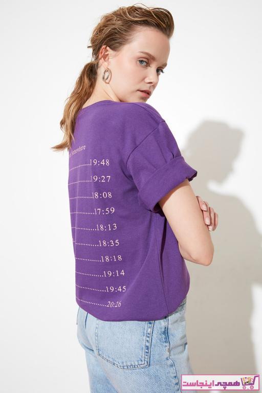 تیشرت زنانه حراجی برند TRENDYOLMİLLA رنگ بنفش کد ty81679248