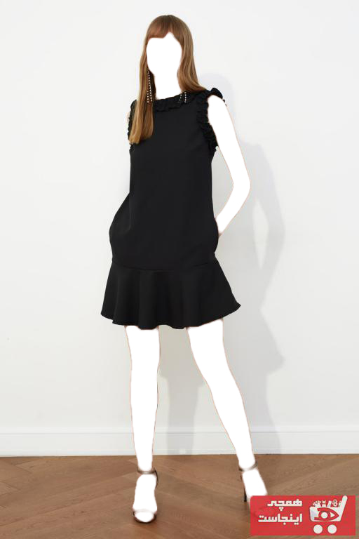 پیراهن زنانه ارزان برند ترندیول میلا ترک رنگ مشکی کد ty82229425