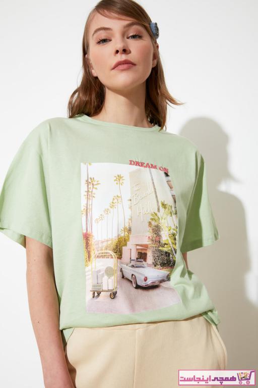 خرید انلاین تیشرت زنانه ترکیه برند ترندیول میلا ترک رنگ آبی کد ty82236260