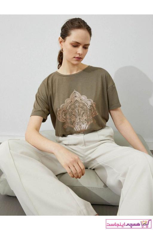 تیشرت زنانه شیک جدید برند کوتون رنگ خاکی کد ty83185367