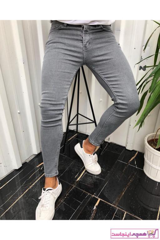 شلوار جین مردانه طرح دار برند ukdwear رنگ نقره ای کد ty85215627
