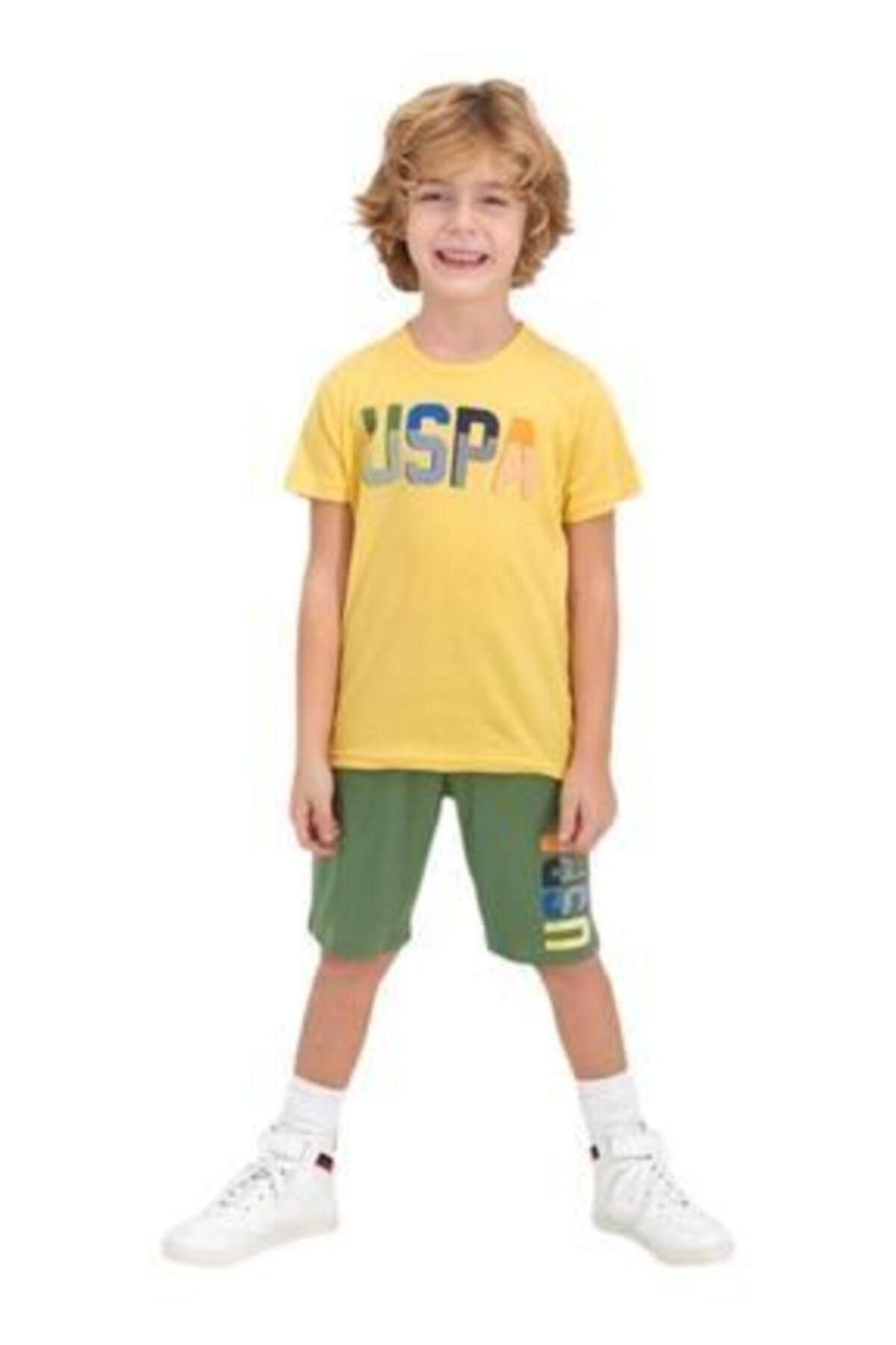 ست راحتی دخترانه نگیندار برند U.S. Polo Assn. رنگ زرد ty85720296