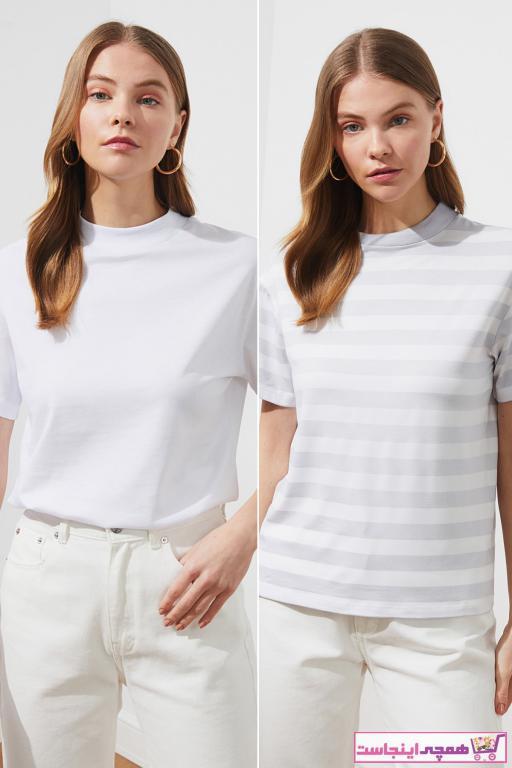 تی شرت زنانه فروش برند ترندیول میلا رنگ نقره ای کد ty85891658