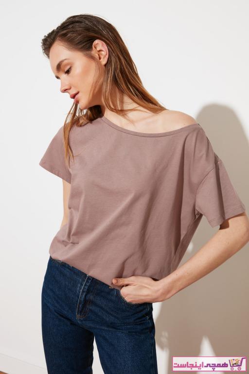 تی شرت زنانه فروش مارک ترندیول میلا رنگ بژ کد ty85973876