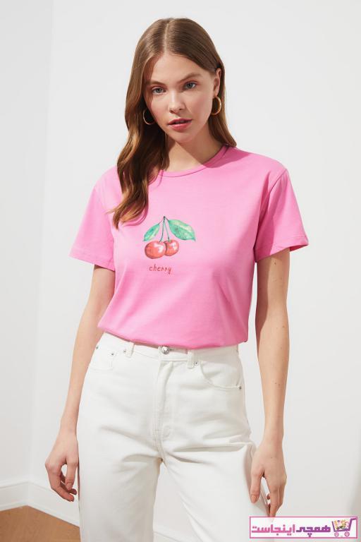 تیشرت زنانه مدل مارک ترندیول میلا رنگ صورتی ty86640148
