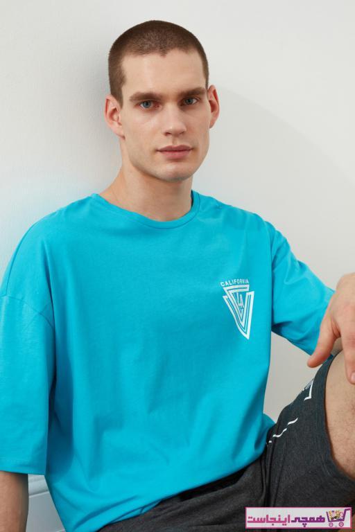 فروش تی شرت مردانه جدید مارک ترندیول مرد رنگ فیروزه ای ty87593782