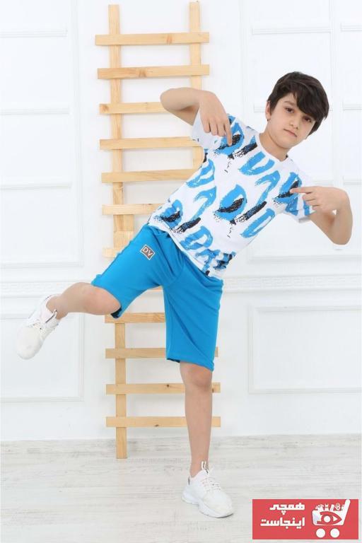 خرید لباس مجلسی بچه گانه شیک مجلسی برند Mnk رنگ آبی کد ty90091259