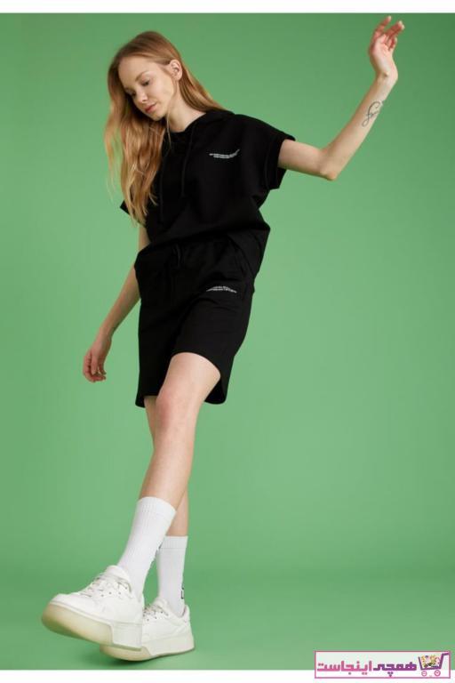 فروش شلوارک ورزشی مردانه ترک ارزان برند دفاکتو رنگ مشکی کد ty90689269