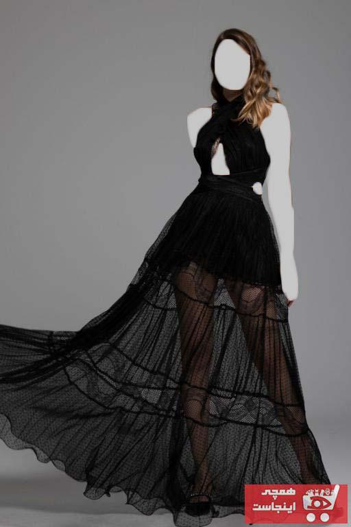 لباس مجلسی زنانه ارزان برند Tuba Ergin رنگ مشکی کد ty91120026