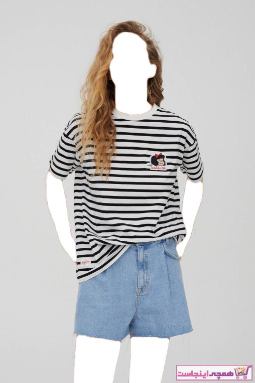تیشرت زنانه مارک برند Pull & Bear رنگ آبی کد ty92377172