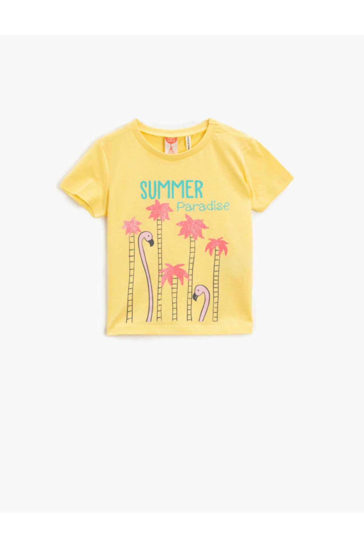 سفارش تیشرت نوزاد دخترانه ارزان برند کوتون رنگ زرد ty92783586