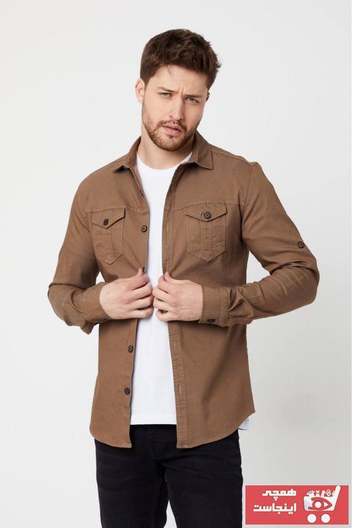 پیراهن مردانه ترک جدید برند Moda Karel رنگ قهوه ای کد ty92910900