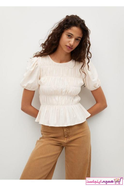 تیشرت زنانه مدل برند MANGO Woman منگو رنگ بژ کد ty93306918