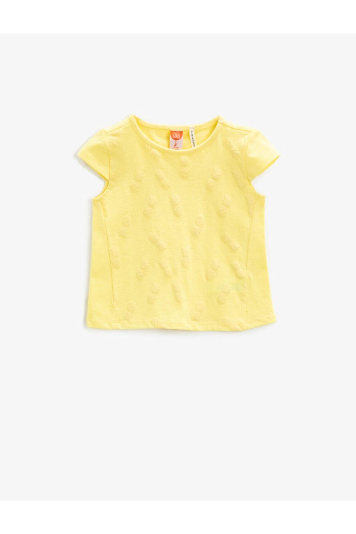 حرید اینترنتی تیشرت نوزاد دخترانه ارزان برند کوتون رنگ زرد ty93604571