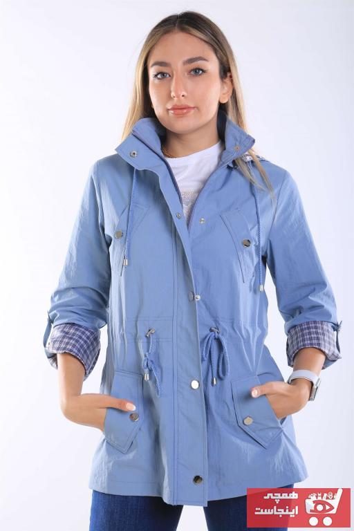 مانتو پاییزی زنانه فروشگاه اینترنتی برند intersivin رنگ آبی کد ty95316090