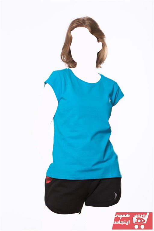 خرید انلاین تیشرت ورزشی جدید زنانه شیک برند Gymlegend رنگ فیروزه ای ty95393221
