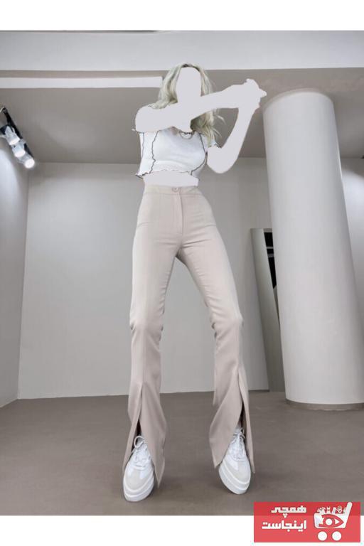 خرید شلوار زنانه شیک مجلسی برند HOLLY LOLLY رنگ بژ کد ty96079592