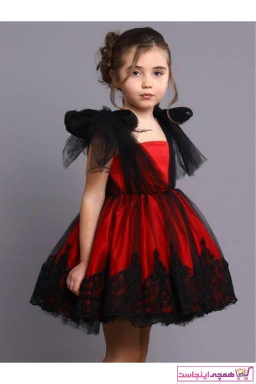 لباس مجلسی دخترانه نخی برند Riccotarz رنگ قرمز ty96726275