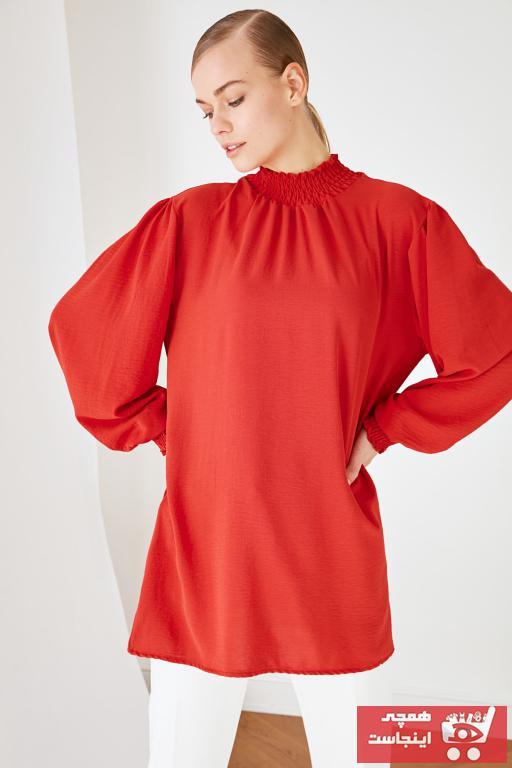 فروش تونیک زنانه حراجی برند Trendyol Modest رنگ قرمز ty97045048
