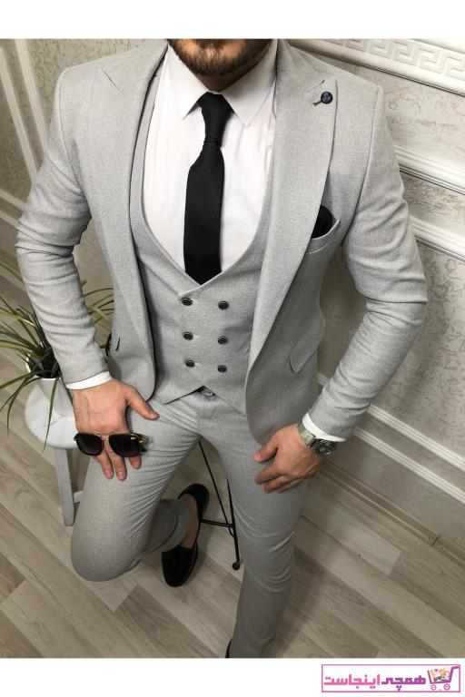 کت شلوار مردانه جدید برند Dacfashion رنگ نقره ای کد ty97165796