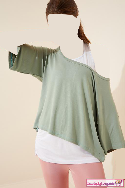 خرید اسان تیشرت زنانه زیبا برند Happiness İst. رنگ سبز کد ty97974175