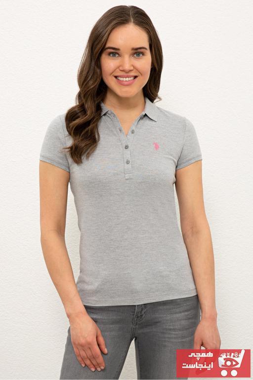 پولوشرت زنانه ترک جدید برند U.S. Polo Assn. رنگ نقره ای کد ty98112477