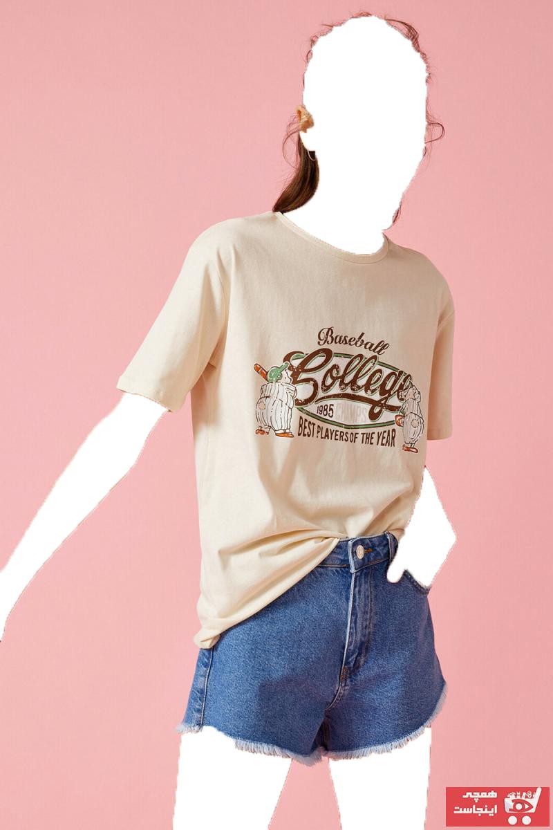 فروش پستی تیشرت زنانه ترک برند کوتون رنگ نقره ای کد ty99481024