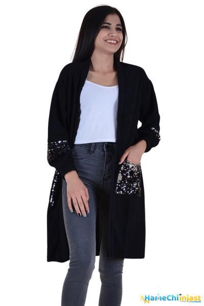 ژاکت بافتی زنانه مدل برند butikburuç رنگ مشکی کد ty100522032