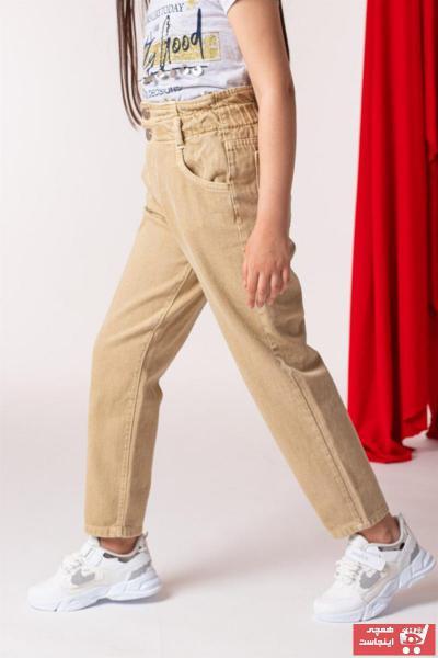 شلوار لی 2021 بچه گانه دخترانه برند WOVS رنگ بژ کد ty101717981