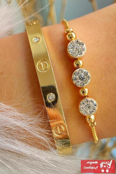 دستبند طرح دار برند Jenny Daphne رنگ زرد ty103892145