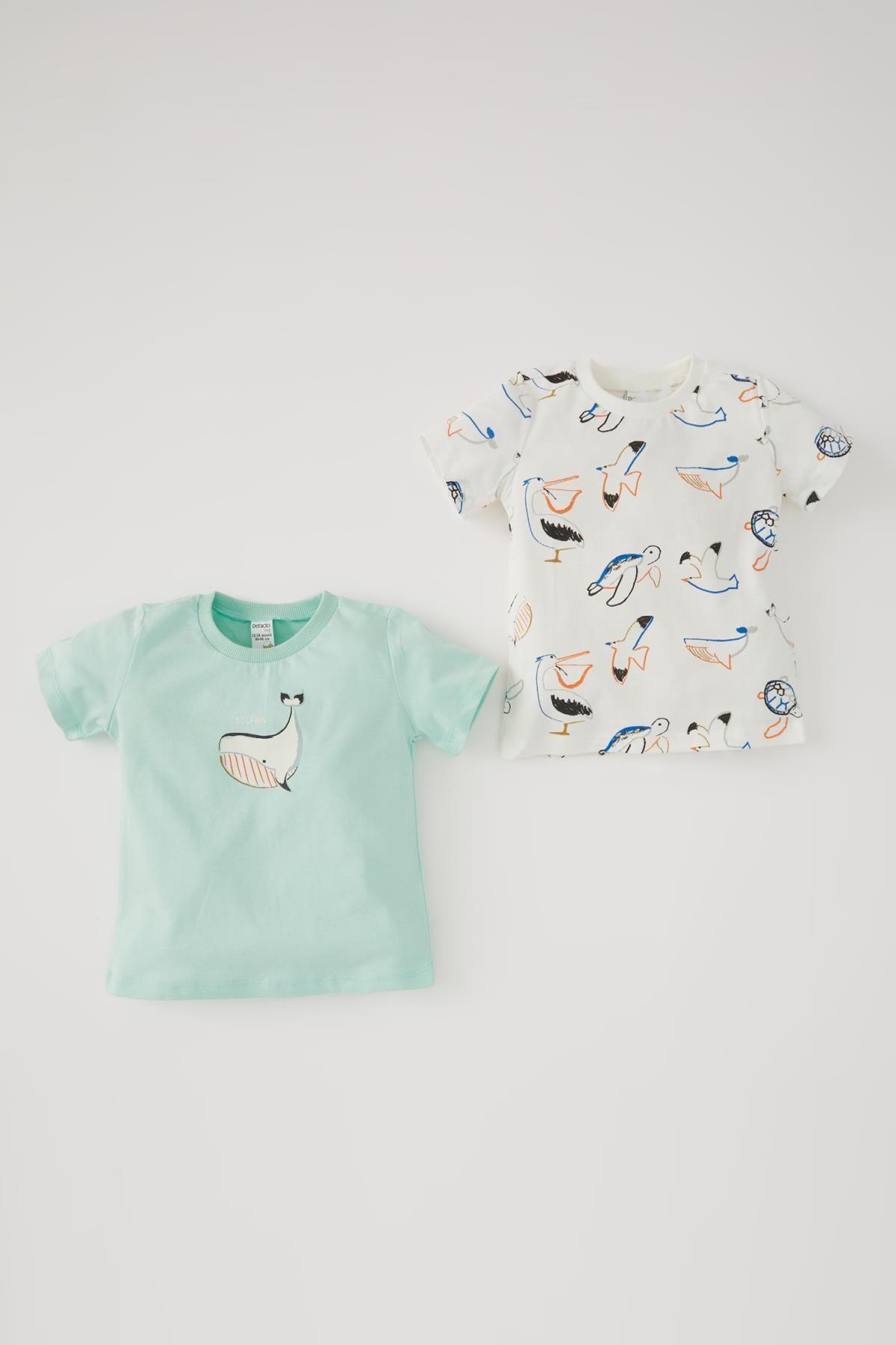 تیشرت نوزاد پسرانه مدل برند دفاکتو ترک رنگ فیروزه ای ty104895957